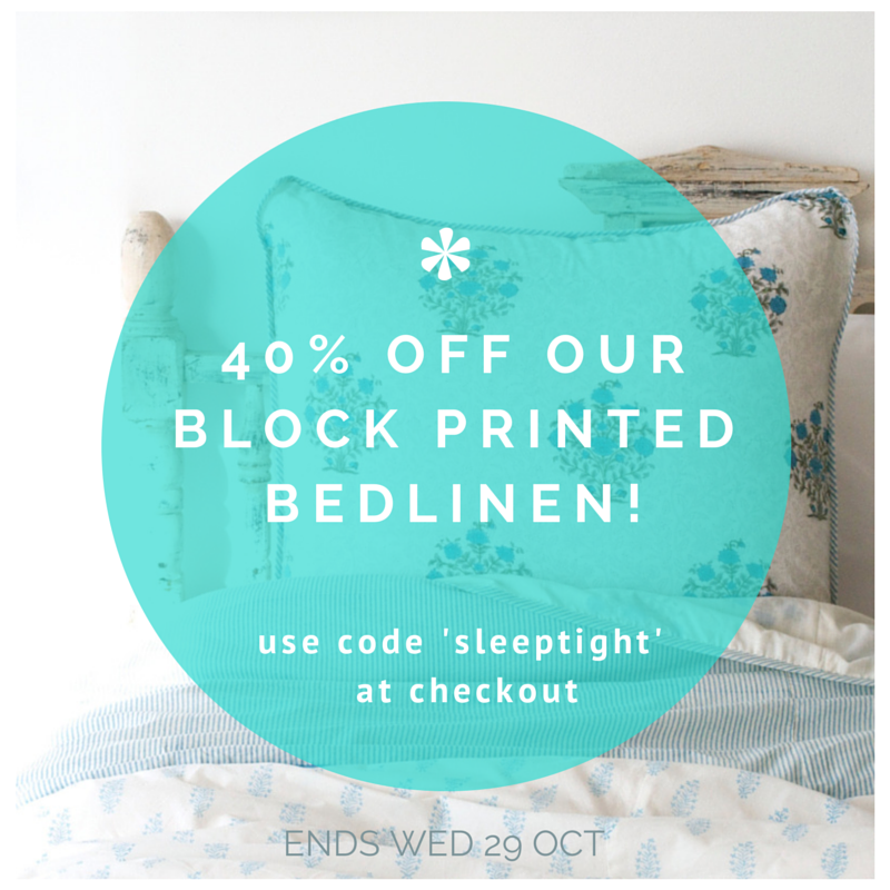 40% off our block printedbedlinen!!