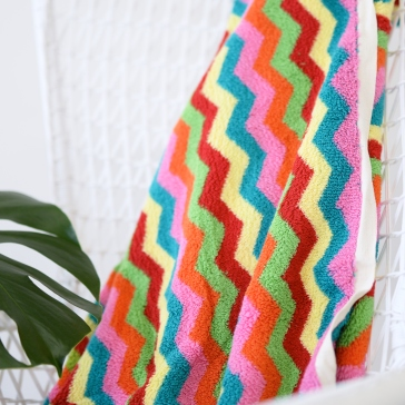Luxurious Colourful Zig Zag Bath or Beach Towel 1