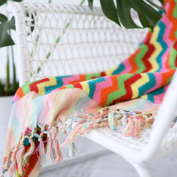 Luxurious Colourful Zig Zag Bath or Beach Towel 2