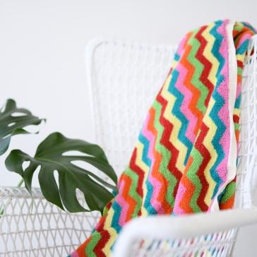 Luxurious Colourful Zig Zag Bath or Beach Towel